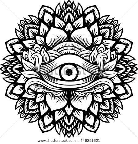 Mandala henna mehendi with the eye of providence inside