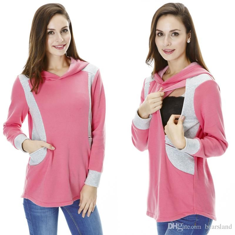 Maternity Shirts Maternity Sweater Nursing Clothes Warming Patchwork ...