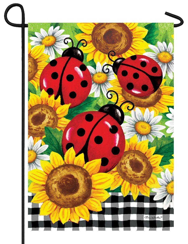 Ladybugs And Sunflowers Garden Flag Ladybug Garden Summer Garden Flags Garden Flags
