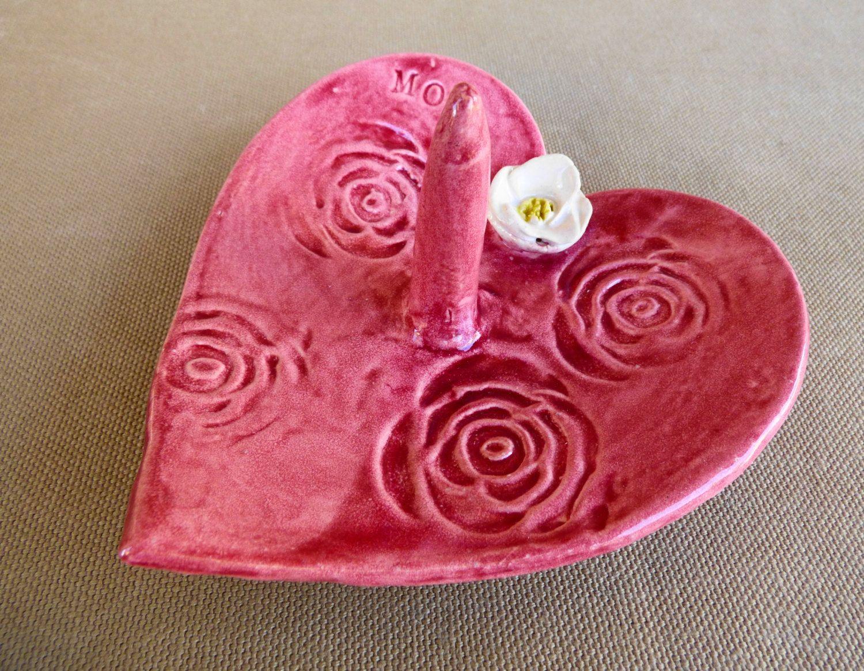 Pink Heart Dishfor MOM with Rose, Ceramic Ring plate, Rosette ...