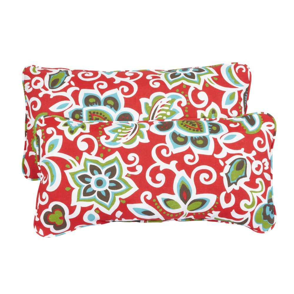 Floral Red Corded 12 X 24 Inch Indoor/ Outdoor Lumbar Pillows (Set Of 2