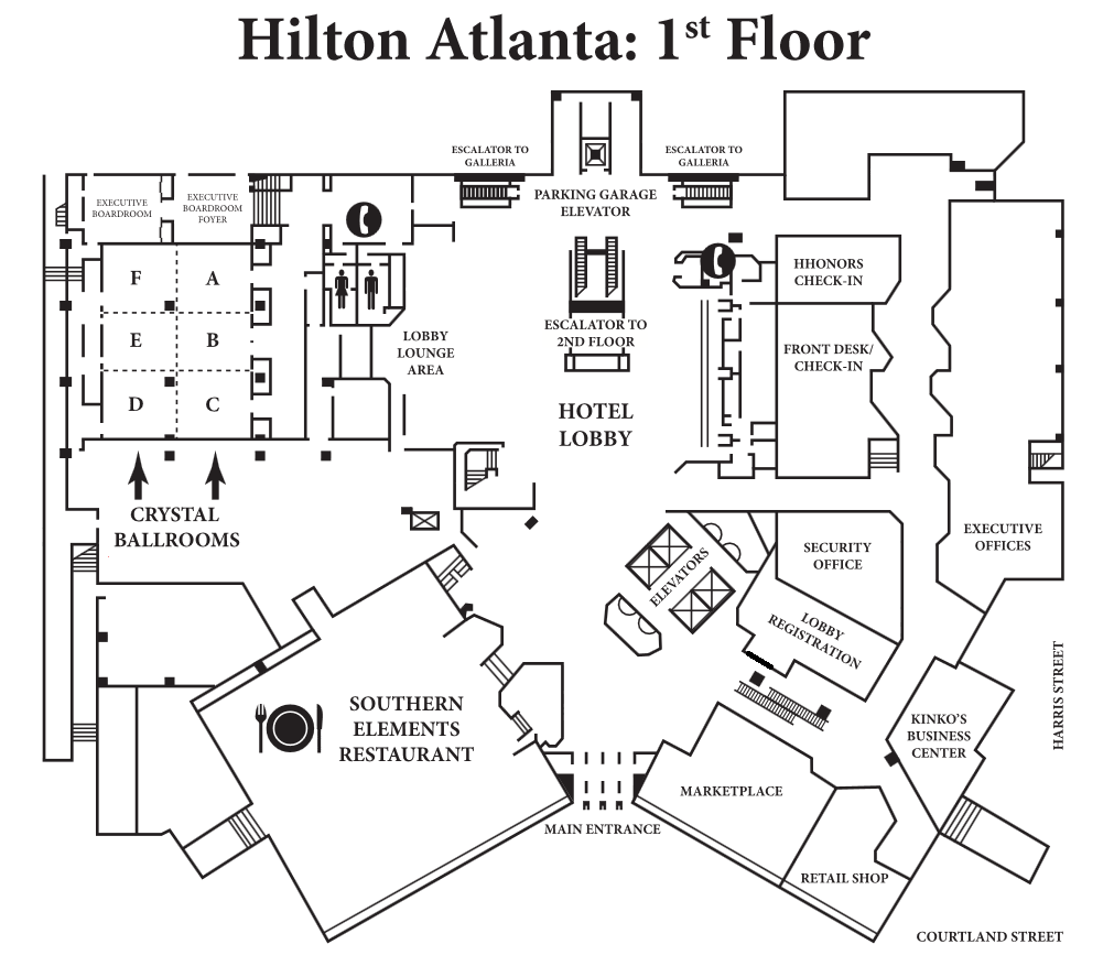 Simple hotel lobby floor plan -