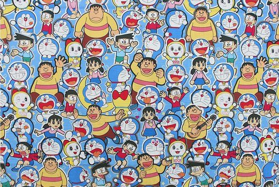 Doraemon Character Fabric made in Korea by the Half Yard