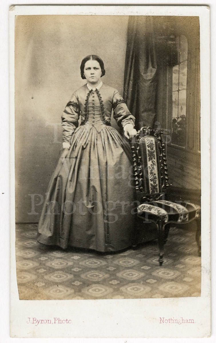 CDV Carte De Visite Photo Victorian Young Standing Woman By J Byron Of Nottingham England