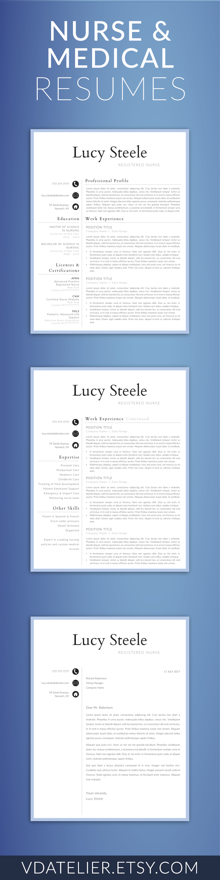 Nurse Resume Template  Pages  Nursing Resume Template  Nurse Cv