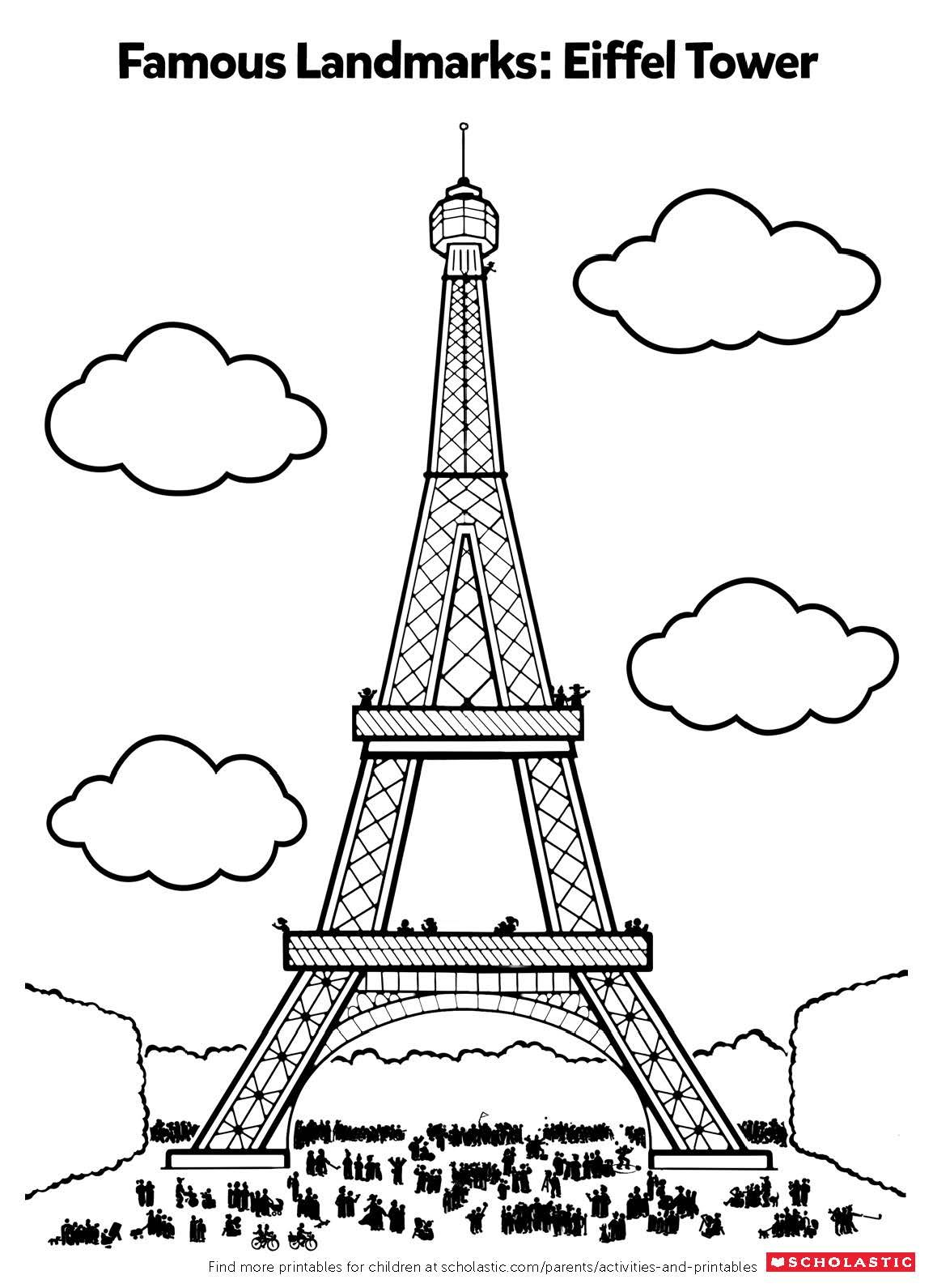 Your Child Can Take A Trip To France By Coloring In This Parisian Printable Featuring This Well Known L Geography For Kids Art Lessons For Kids Summer Camp Art