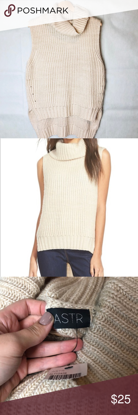 e4ae49a55d141 ASTR   Nordstrom Sleeveless Turtleneck Sweater NWT from ASTR The Brand,  sold in Nordstrom. Soft, chunky knit high low style sleeveless turtleneck.