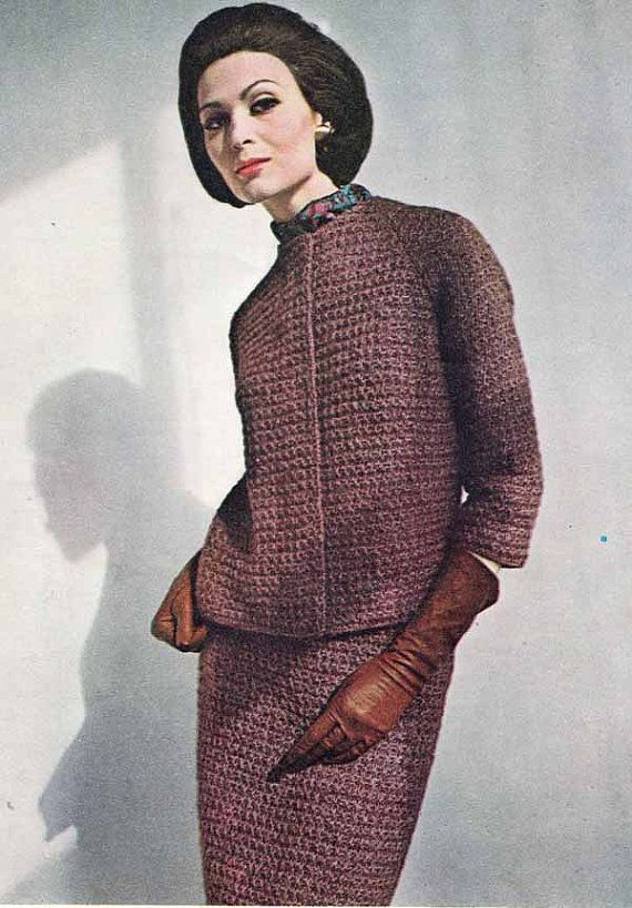 Knitting Pattern Chanel Style Jacket : 1950s/60s Vintage VOGUE KNIT PATTERN: Womens Smart Tailored Suit, Chanel...
