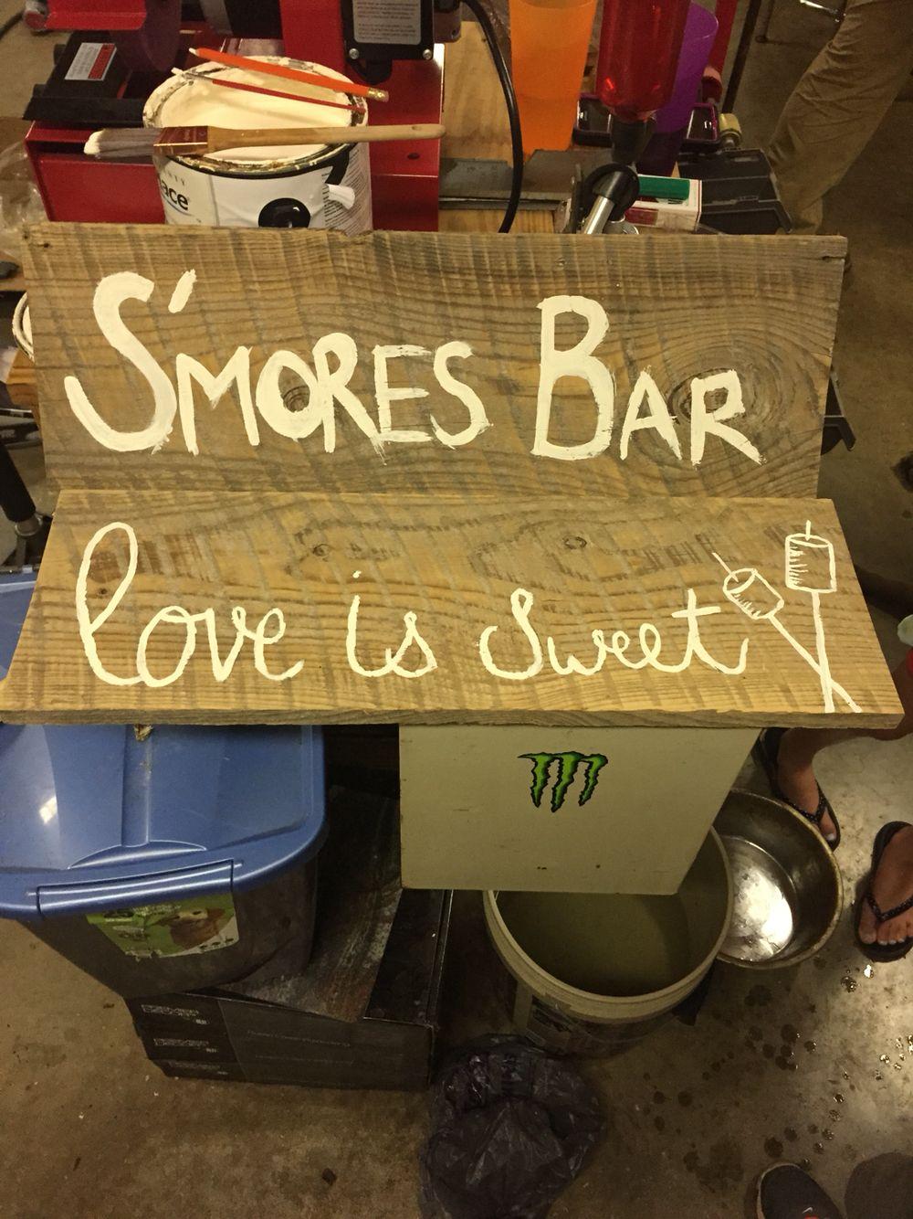 s'mores bar wedding sign! Diy