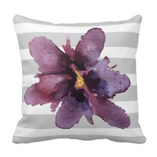 Purple and Pink Striped Watercolor Floral Pillow