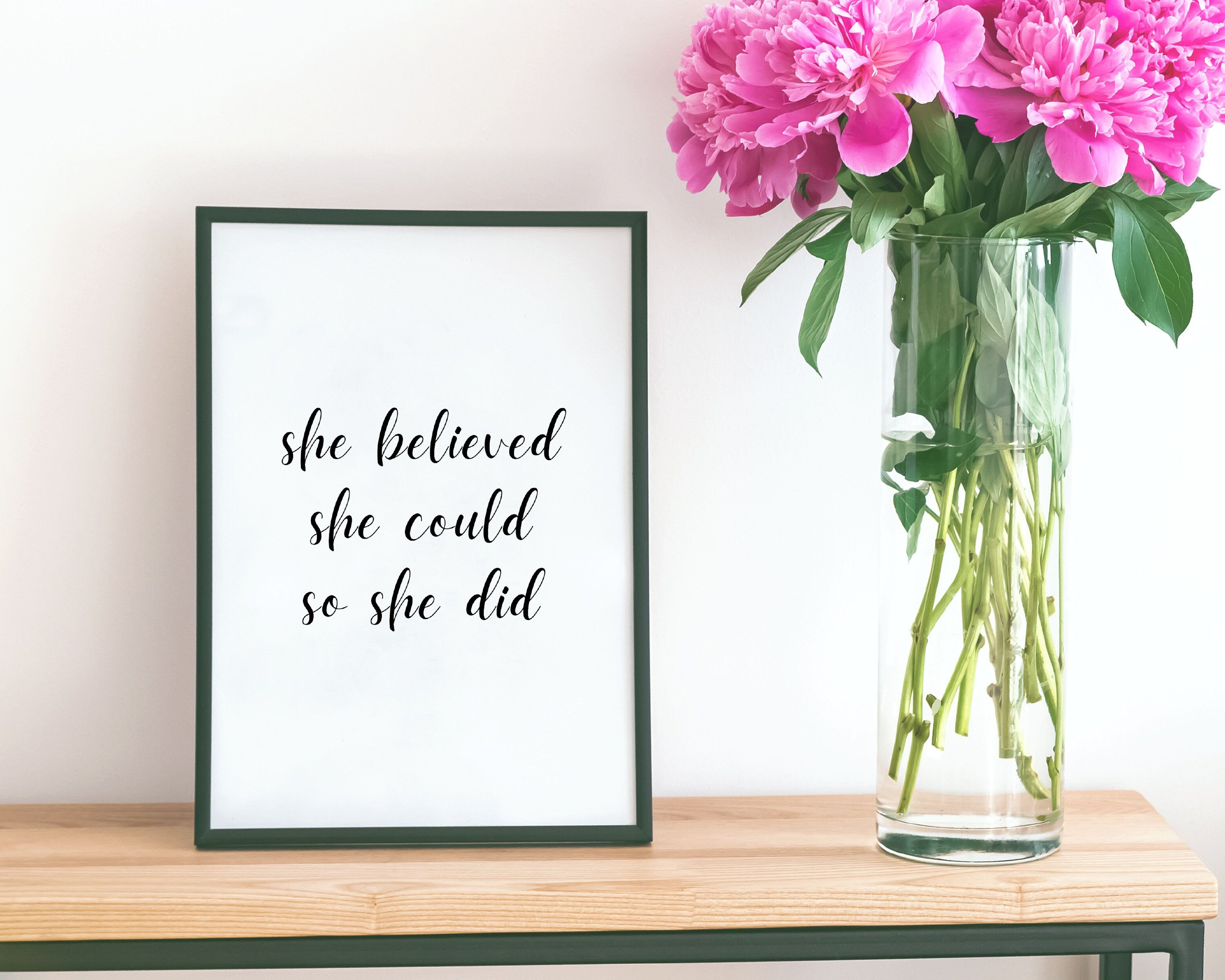 She Believed She Could So She Did Print Empowering Quote   Etsy