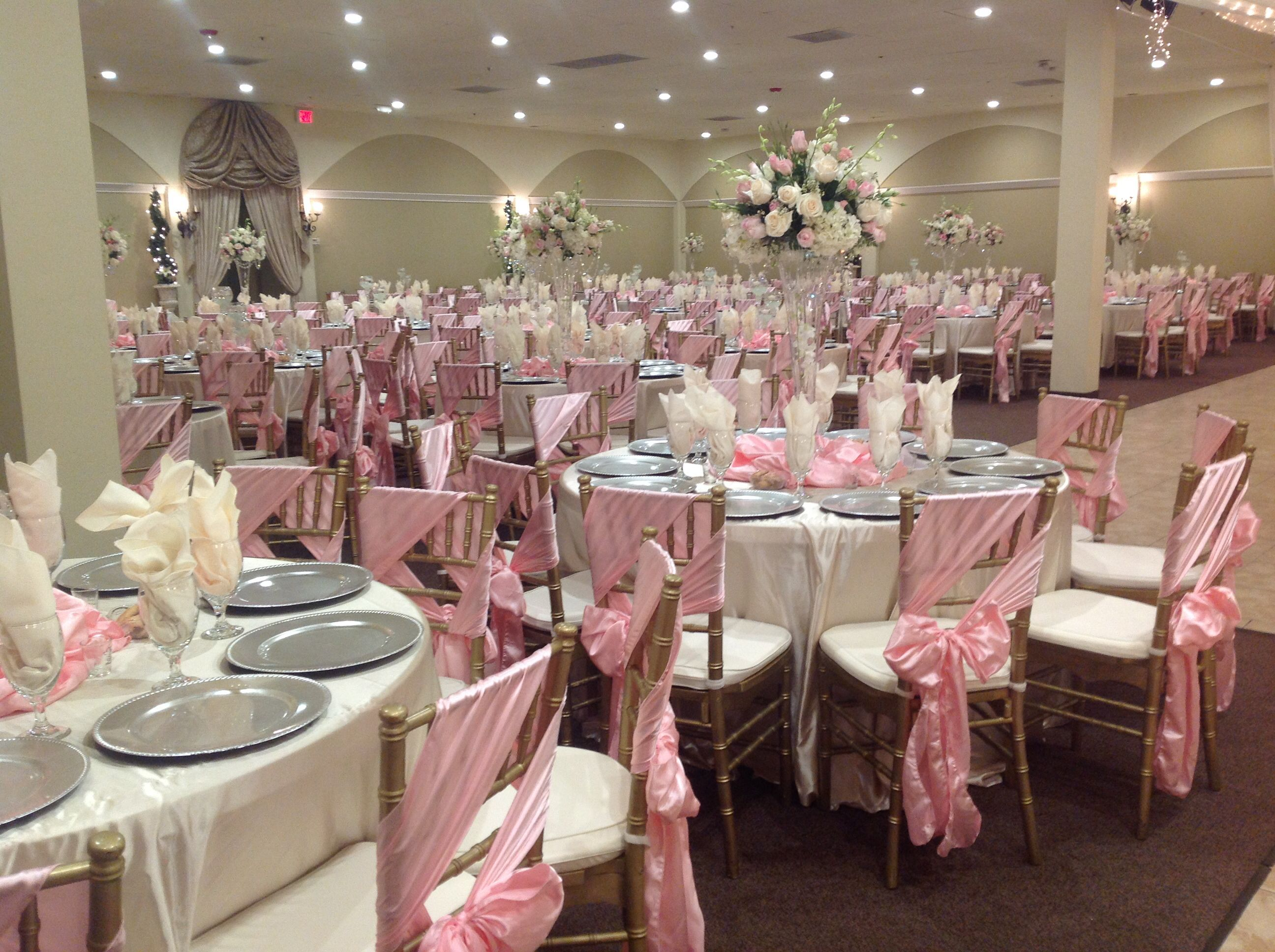 Quinceanera Hall Decorations Pink Champaign and baby pin...