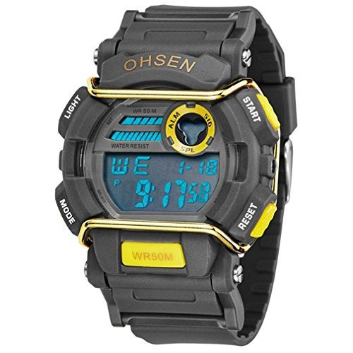 1cfeadfd023 Caleen6 Men Digital Watches 50M Waterproof Multifunction Climbing Dive LCD mens  Wristwatch Yellow    Details can be found by clicking on the image.
