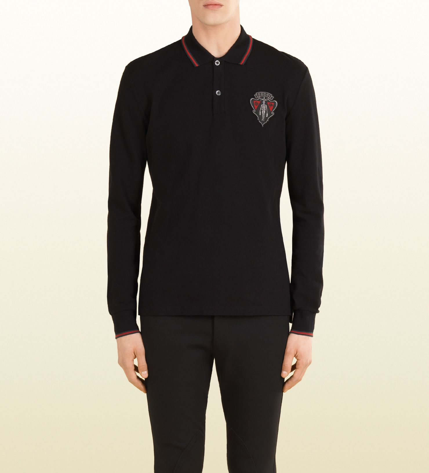 2ee50bc5ece long sleeve polo shirt from the equestrian collection. Gucci