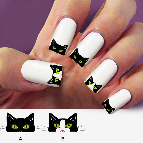 Black cat nail decal,nail art, 60 nail decals, Nail Art design, Water Slide  nail Decals ,#GAT001 - Black Cat Nail Decal,nail Art, 60 Nail Decals, Nail Art Design