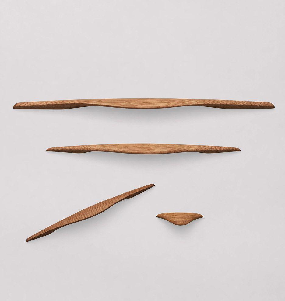 New Depot Bay Finger Pulls Drawer Pulls Oak 1 1 4 Inch Wood