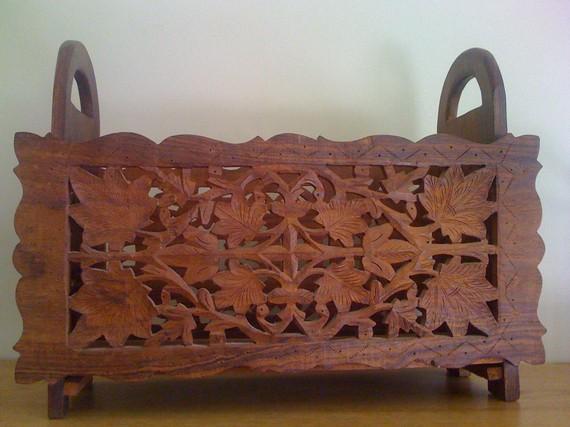 Lovely Sale Vintage Ornate Hand Carved Wood Folk Art Magazine Holder/ Collapsable/  Decorative/ Primitive Amazing Pictures