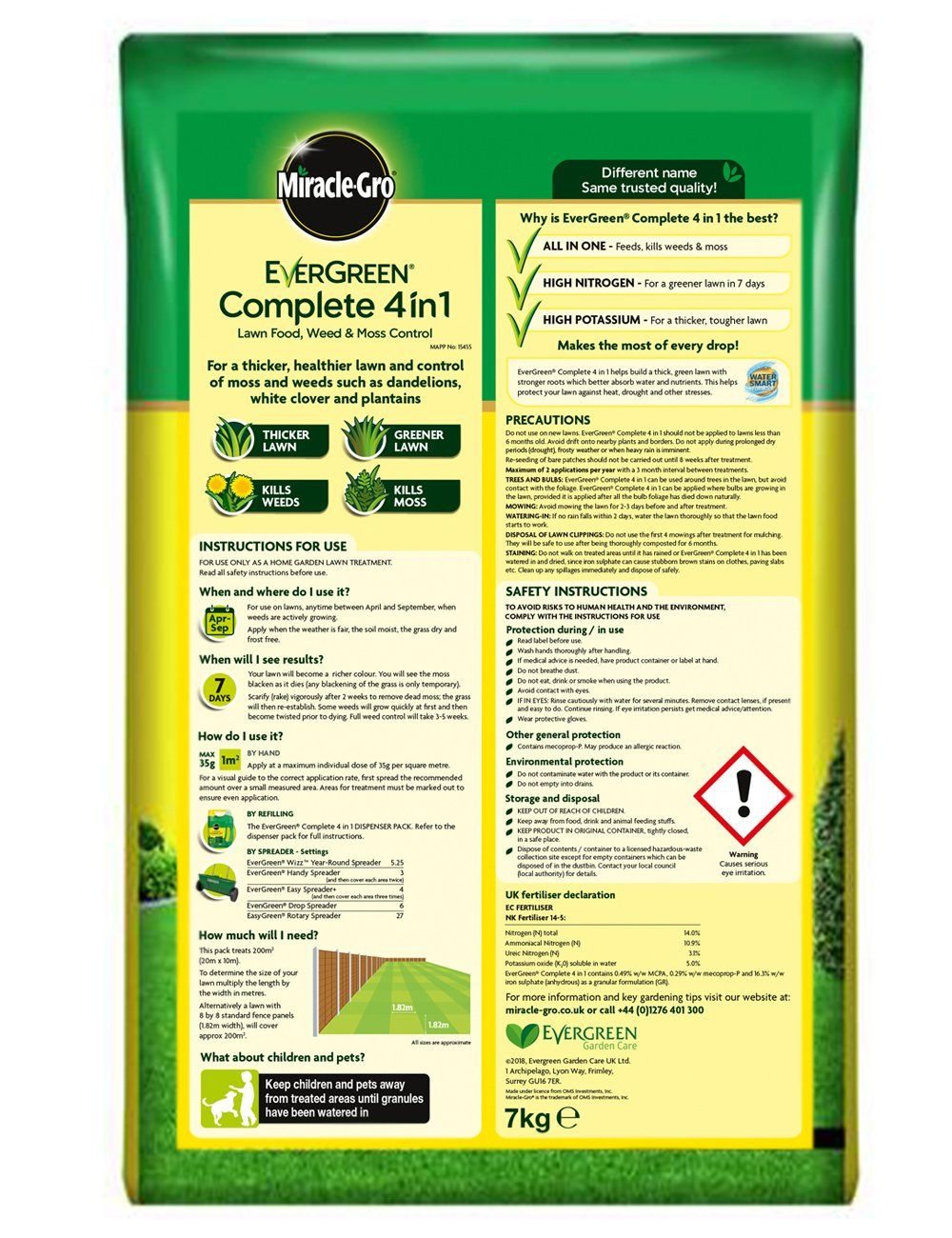 Is your lawn looking a little lacklustre? Help is at hand. Miracle-Gro's EverGreen Complete 4-in-1 lawn food will help you achieve a healthier, greener garden. It has a unique nitrogen formula that feeds your lawn while killing unwanted weeds like dandelions, white clover and moss. Greener lawn within 1 week. Feeds your lawn whilst also working to kill weeds and control moss. Application Advice: April - September. Application Method: Please see pack for details. Safety Information: Plea