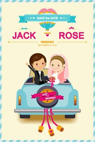 Cute cartoon style wedding invitation card vector 01 wedding
