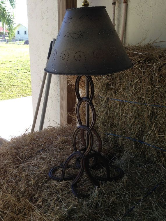 horseshoe lamp horse decor barn cowboy decor western decor lighting