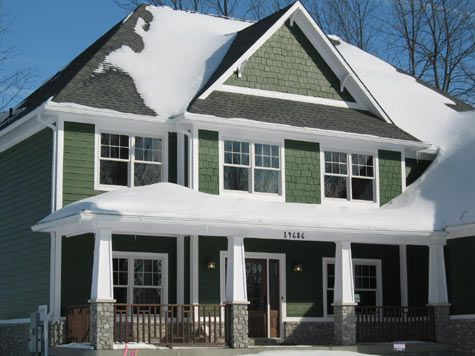 Custom Built Home with Shake Siding, Wrap-Around Front Porch with ...