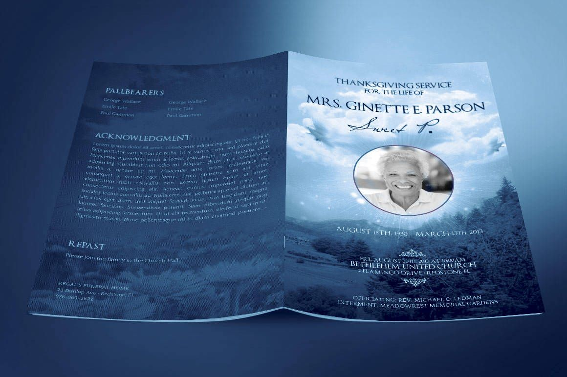 Blue Sky Funeral Program Publisher Template is for Memorial or Home ...