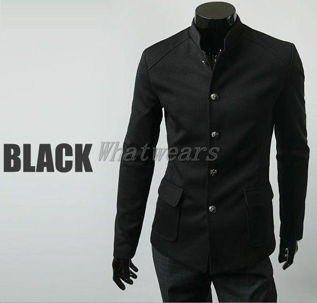 18b8e57a6 Mens Vintage High Collar Chinese Tunic Suit Jacket Coats Single Breast  Black J20 | eBay