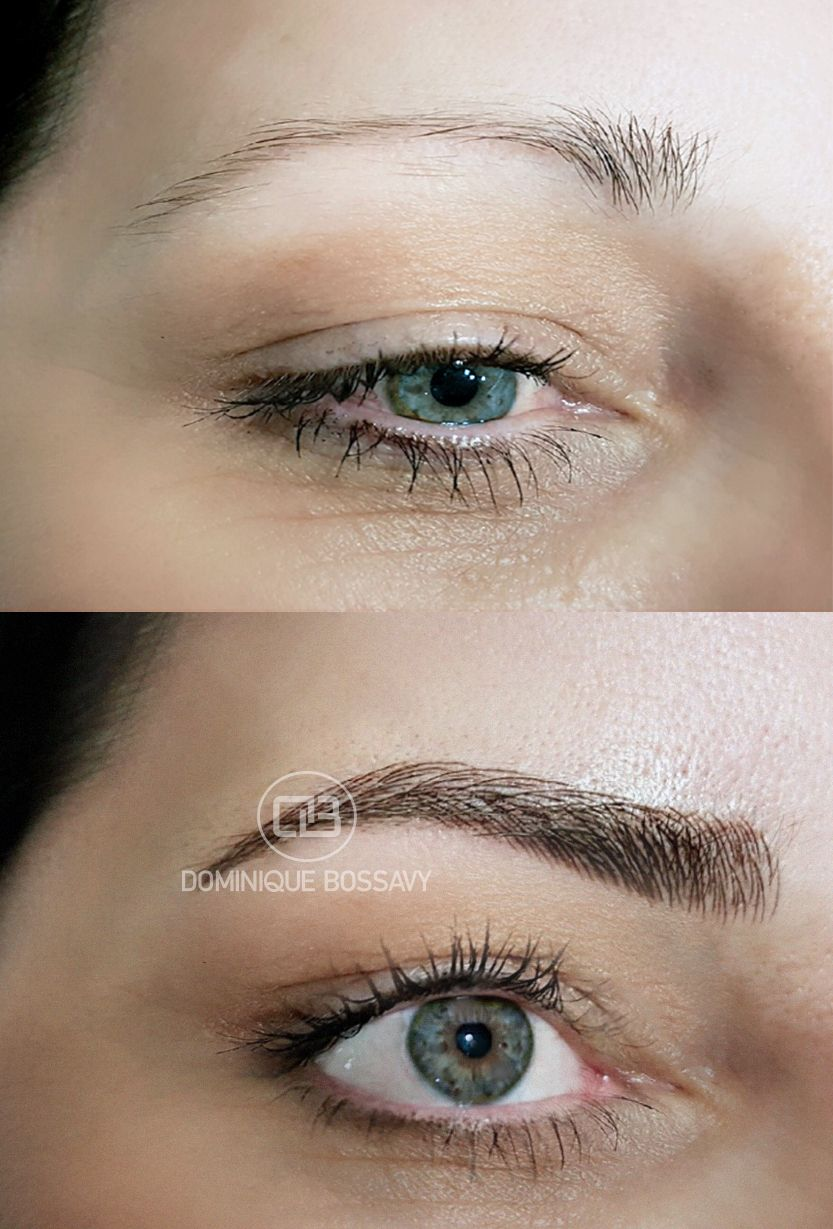 eyebrows before after the micro color infusion