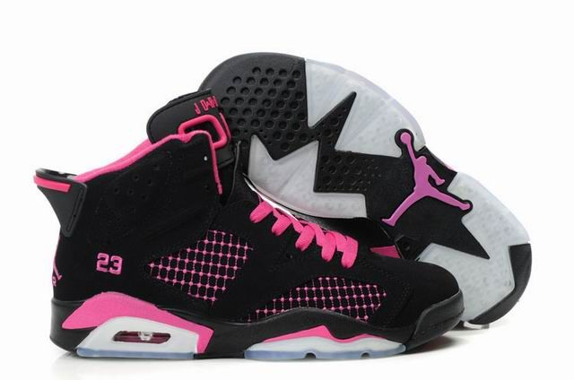 Wholesale Priced Air Jordan 6 Embroided Black Pink For Wholesale Priced Girl Sport Shoes Sizes Cheap Jordan Shoes