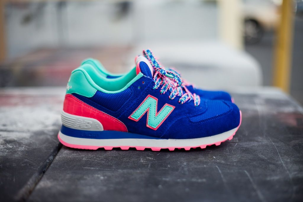 New Balance 574 Blue White Green Womens Winter Shoes