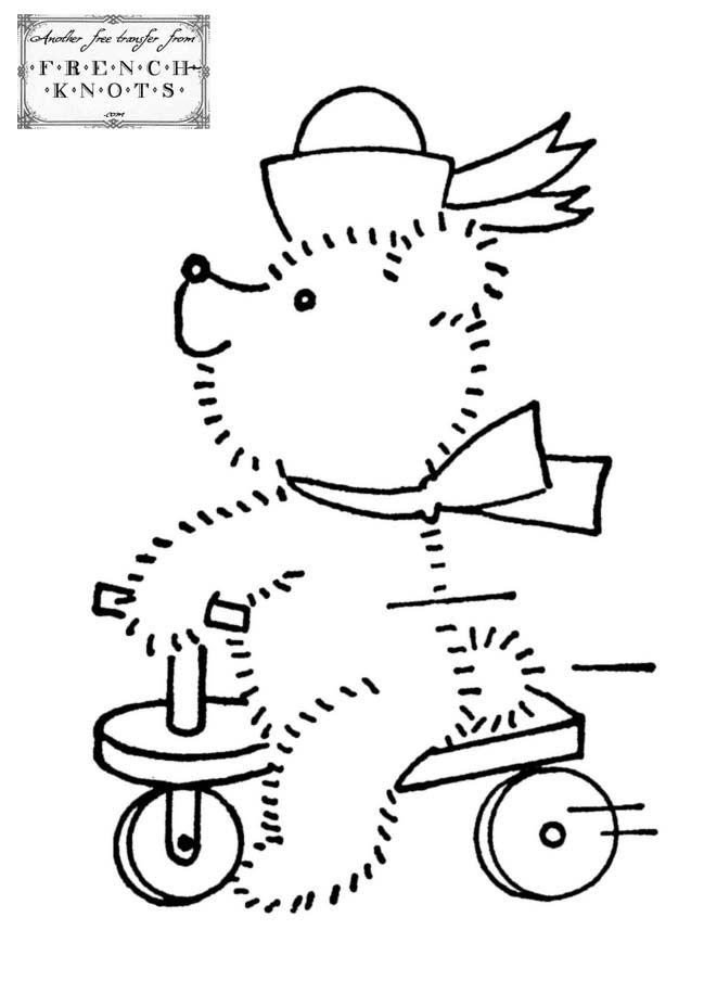 Bike Riding Bear Embroidery Transfer Pattern Pinterest Vintage