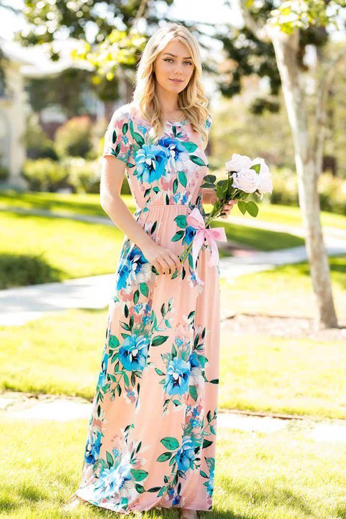 2c8ed44c080 GOZON Women s Big Floral Short Sleeve Round Neck Sid Pocket Maxi Dress –  GOZON Boutique