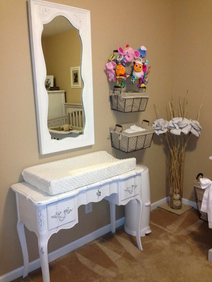 Annie Sloan Painted Vintage Vanity For Changing Table, Hanging Baskets For  Diaper Storage, Corner