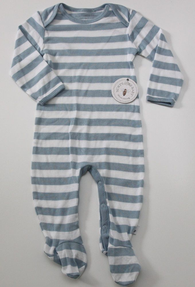 190679d42 Burt s Bees Baby Boy Footed Coverall Sleeper ~ Blue   White Stripes ...