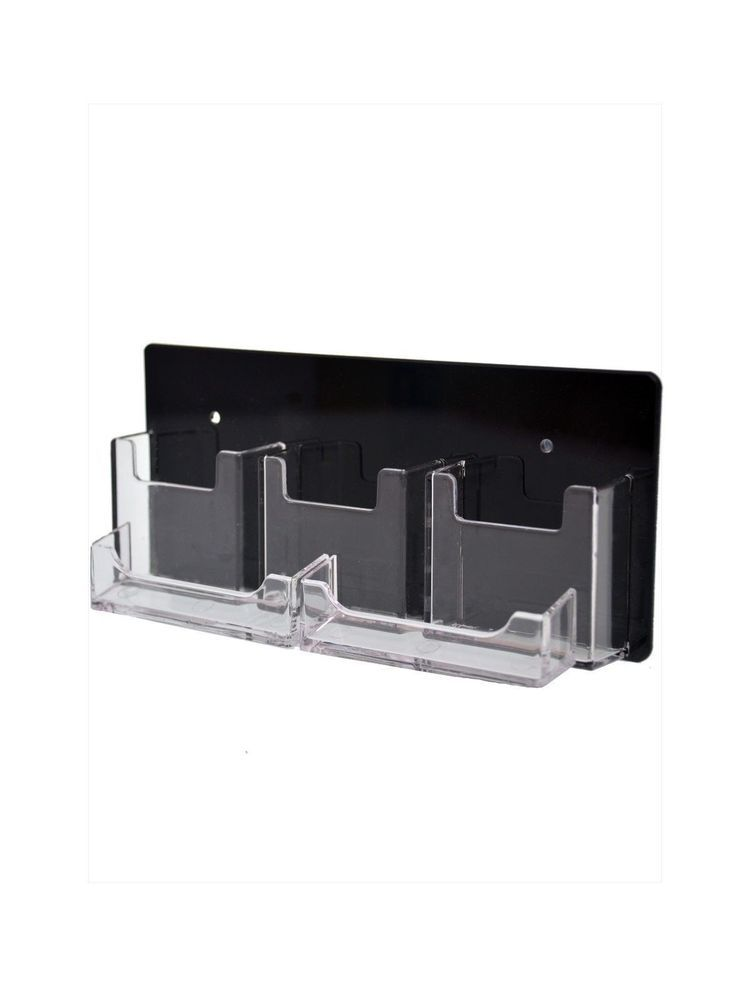 Qty 24 Business Card Display 5 Card Rack Vertical & Horizontal Black ...