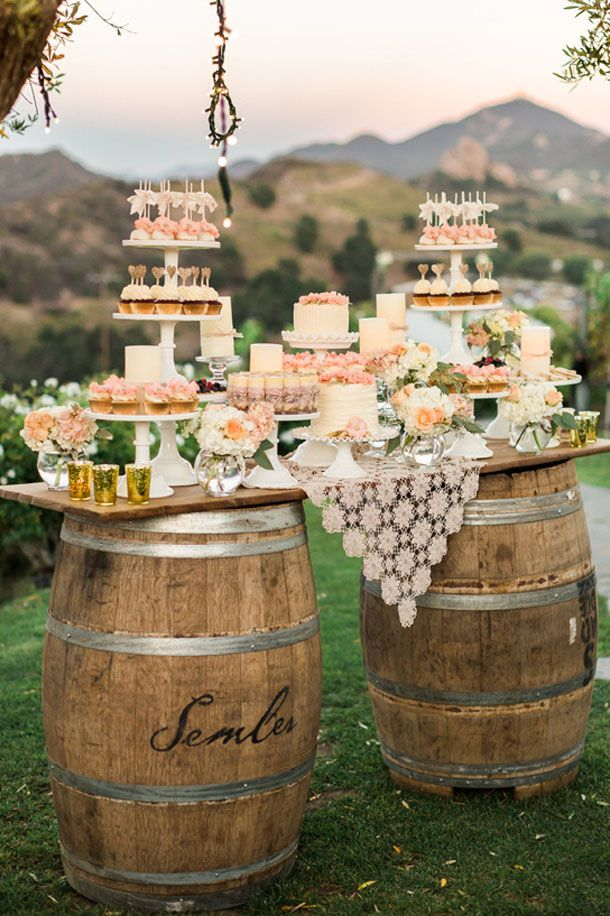 15 Ways To Use Wine Barrels In Your Wedding Decor Rustic Wedding Desserts Wedding Dessert Table Rustic Barrel Wedding