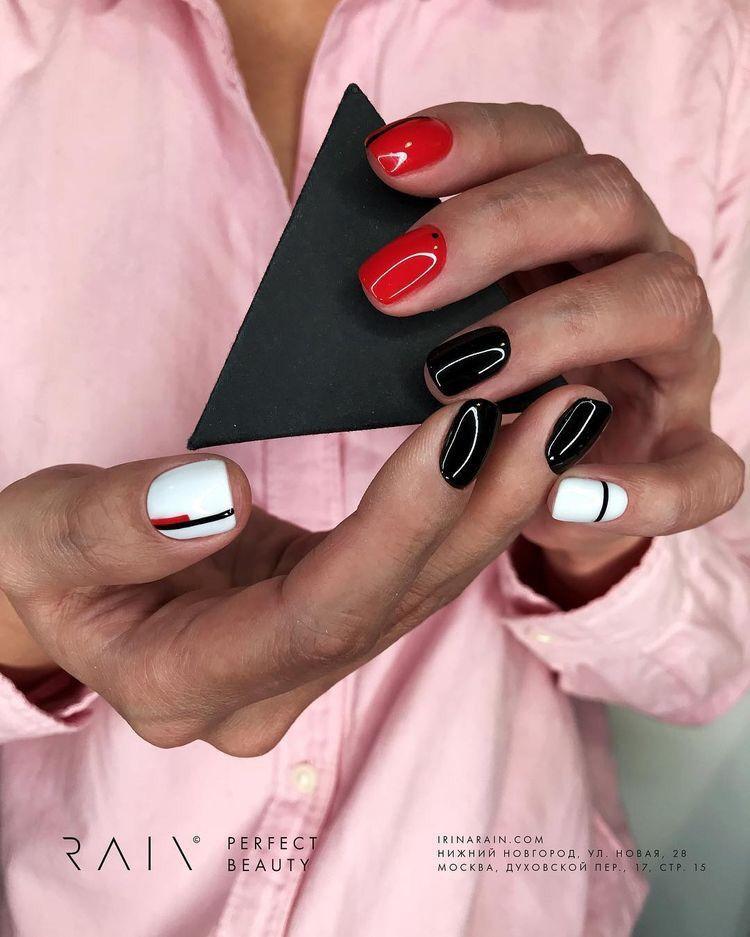Uñas Rojas Negras Y Blancas Manicura De Uñas Uñas Rojas