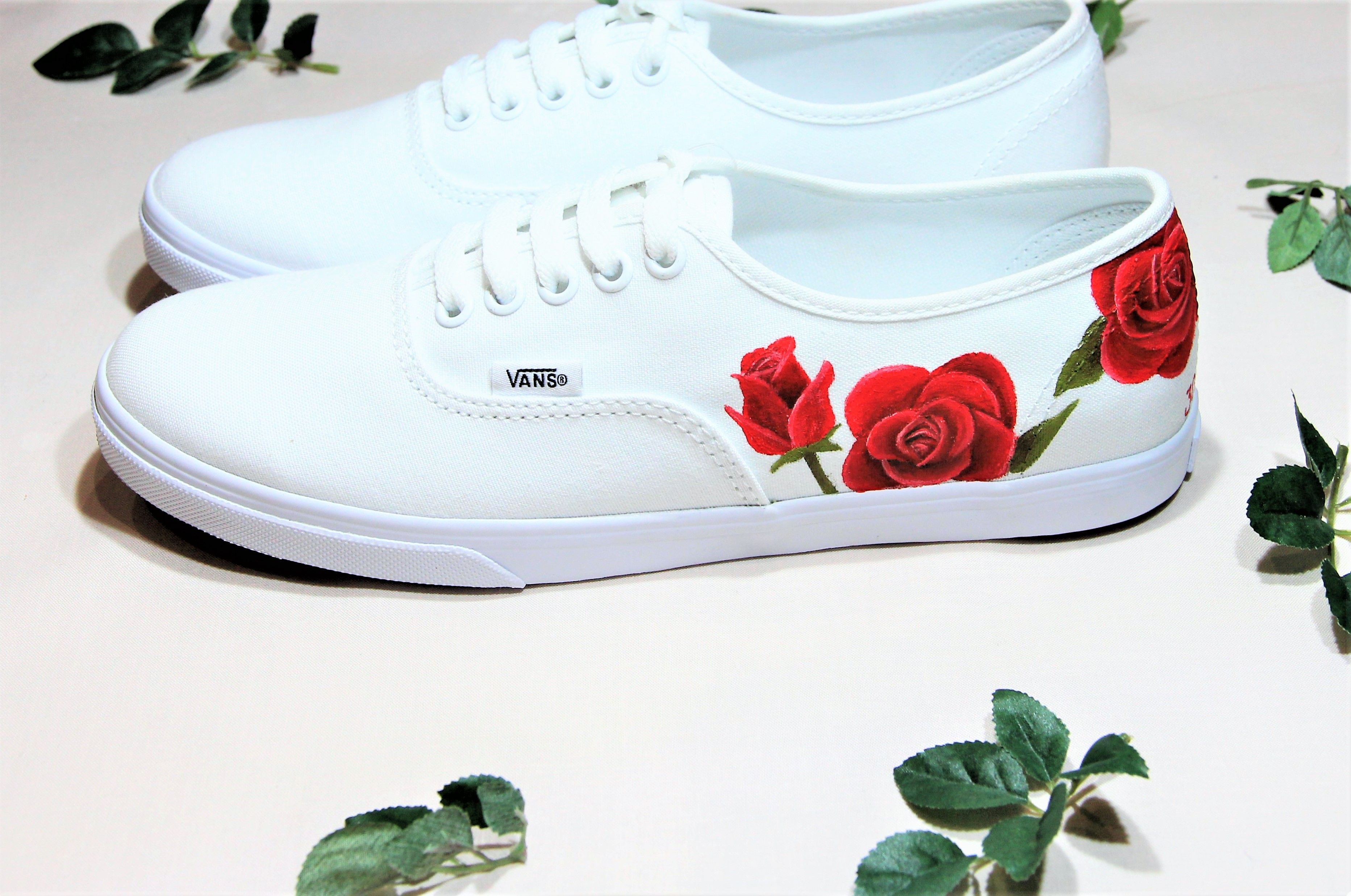3cfe3bb7fddb10 Handpainted wedding trainers with red roses. Made by Elizabeth Rose ...