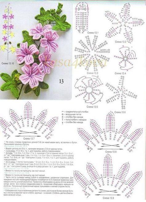 Mais Pins para sua pasta Tecer crochet motivos flores | Tecer ...