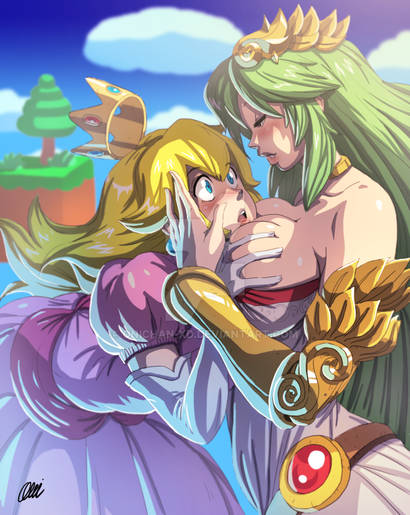 palutena and morrigan switched by ninpeachlover on DeviantArt