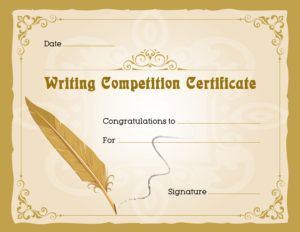 Writing Competition Award Certificate Template For Ms Word