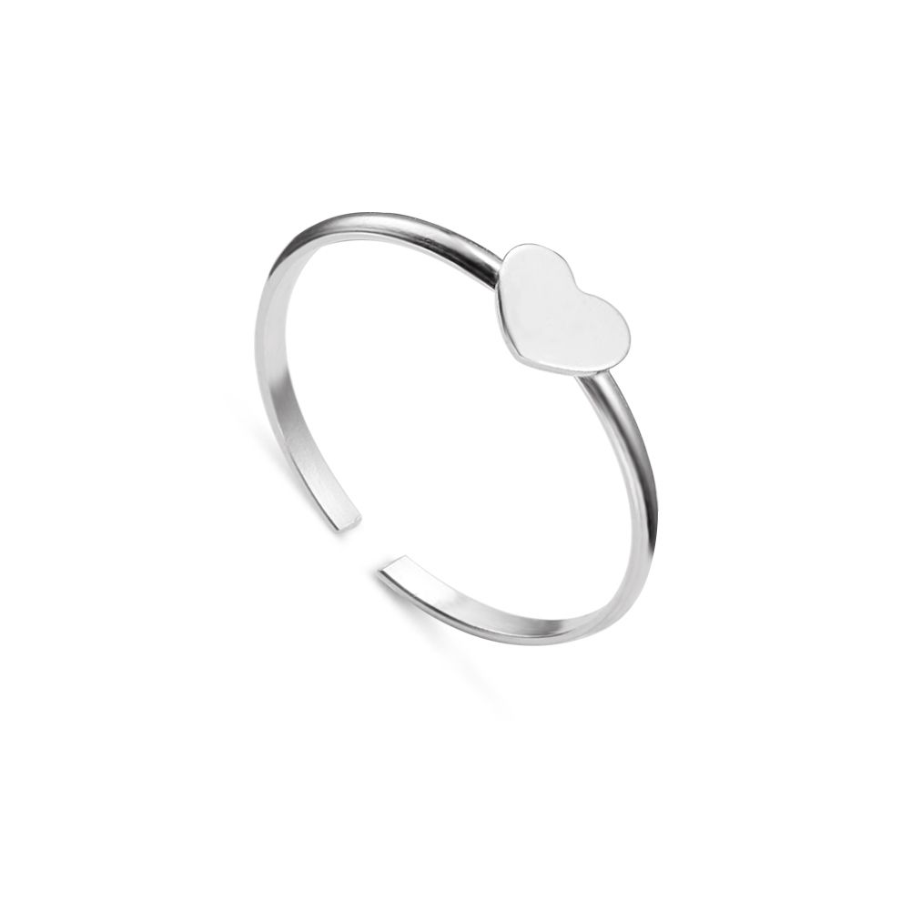 Simple 925 Sterling Silver Heart Cuff Ring, Silver