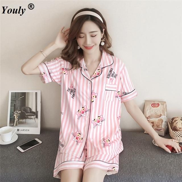 6946f2a576 Cute Cartoon Women s Pajama Sets Cotton Print 2 Pieces Set Crop Top Shorts  women Casual turndown