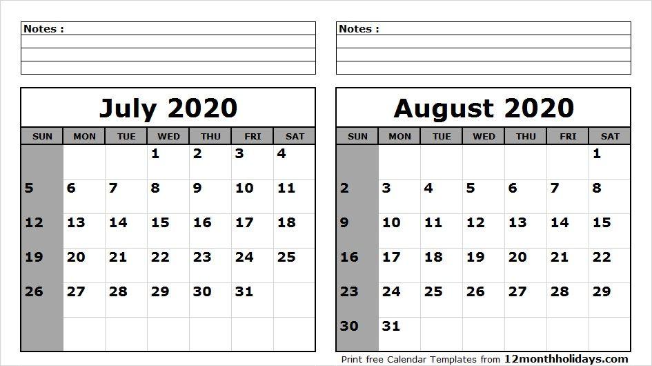 July August Calendar 2020 July August 2020 Calendar Printable | 2018 Calendar | 2021