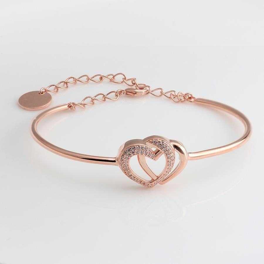 Aiko Trendy Rose Gold Pave Crystal Heart Bangle Chain Bracelet