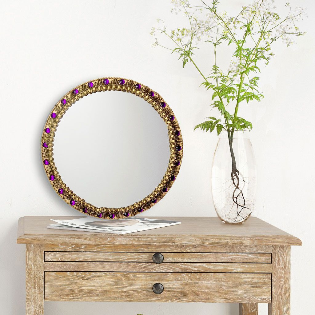 Byzantine Handmade Round Mirror in Purple