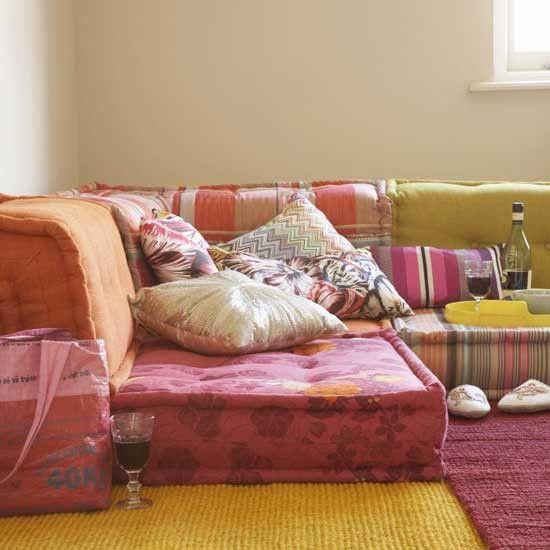 Floor Cushions Ideas: Create a Fun Interior & cheaper ways to get the best bohemian sectional floor couch ... pillowsntoast.com