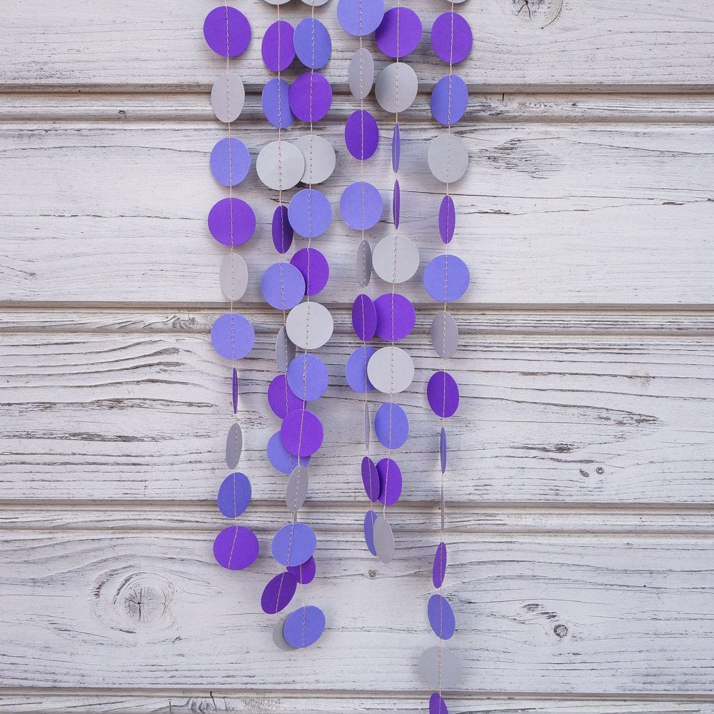 Purple And Blue Paper Garland, Lilac Wedding Garland