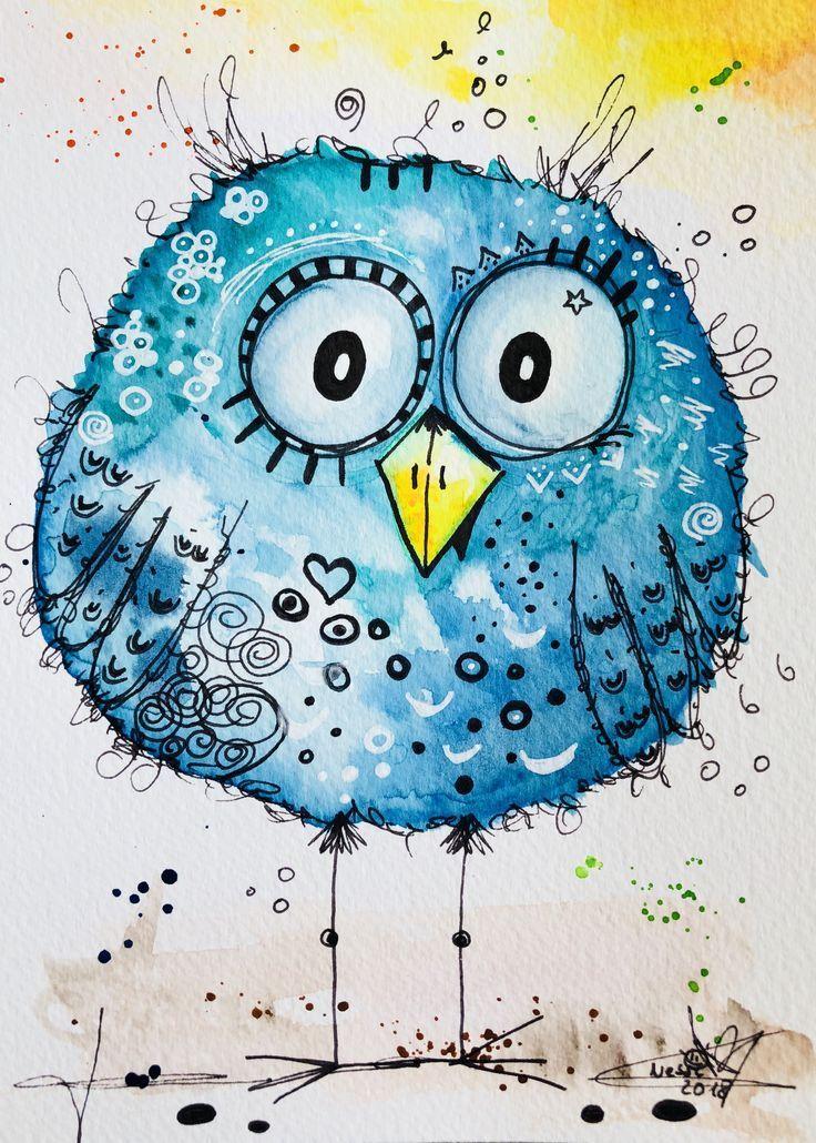 Gelukkig Schilderij Club Schilder Jeny Kunst In 2020 Happy Paintings Whimsical Art Bird Art