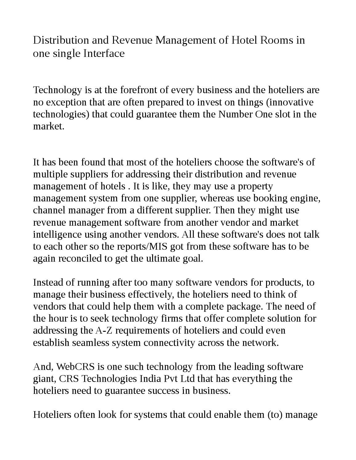 WebCRS a technology from CRS Technologies Revenue